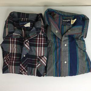 Lot of Two Plaid Pearl Snap Button Up Long Sleeve